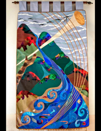 In celebration of the music ministry at the First Presbyterian Church. This is an 8' tall banner featuring trumpet fish, harp seals, fiddler crabs, angelfish, a hand of all flesh tones holding the trumpet as the birds double as the notes singing out ALLELUIA