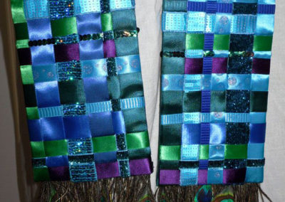 Woven Ribbon Stole complete with peacock feathers