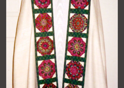 Chasuble, cope, stole and miter made using a thistle fabric created in the stained glass window pattern