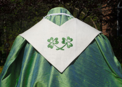 stole made using Gramma's napkins - I added in the three leaf clover, symbol of the Trinity to complete the stole