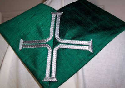 A stole for the Bishop of the Society of Ordained Scientists using their logo of a DNA helix