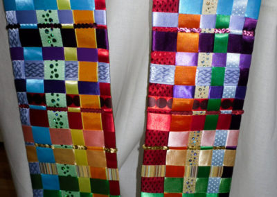 woven ribbon rainbow complete with bells-3