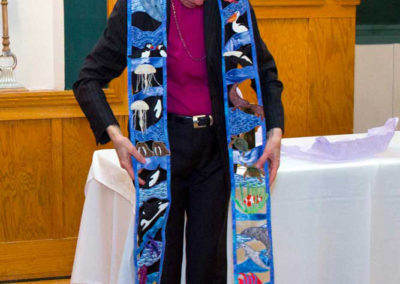 this is the then Presiding Bishop of the Episcopal Church with a personal journey cutwork stole I made for her